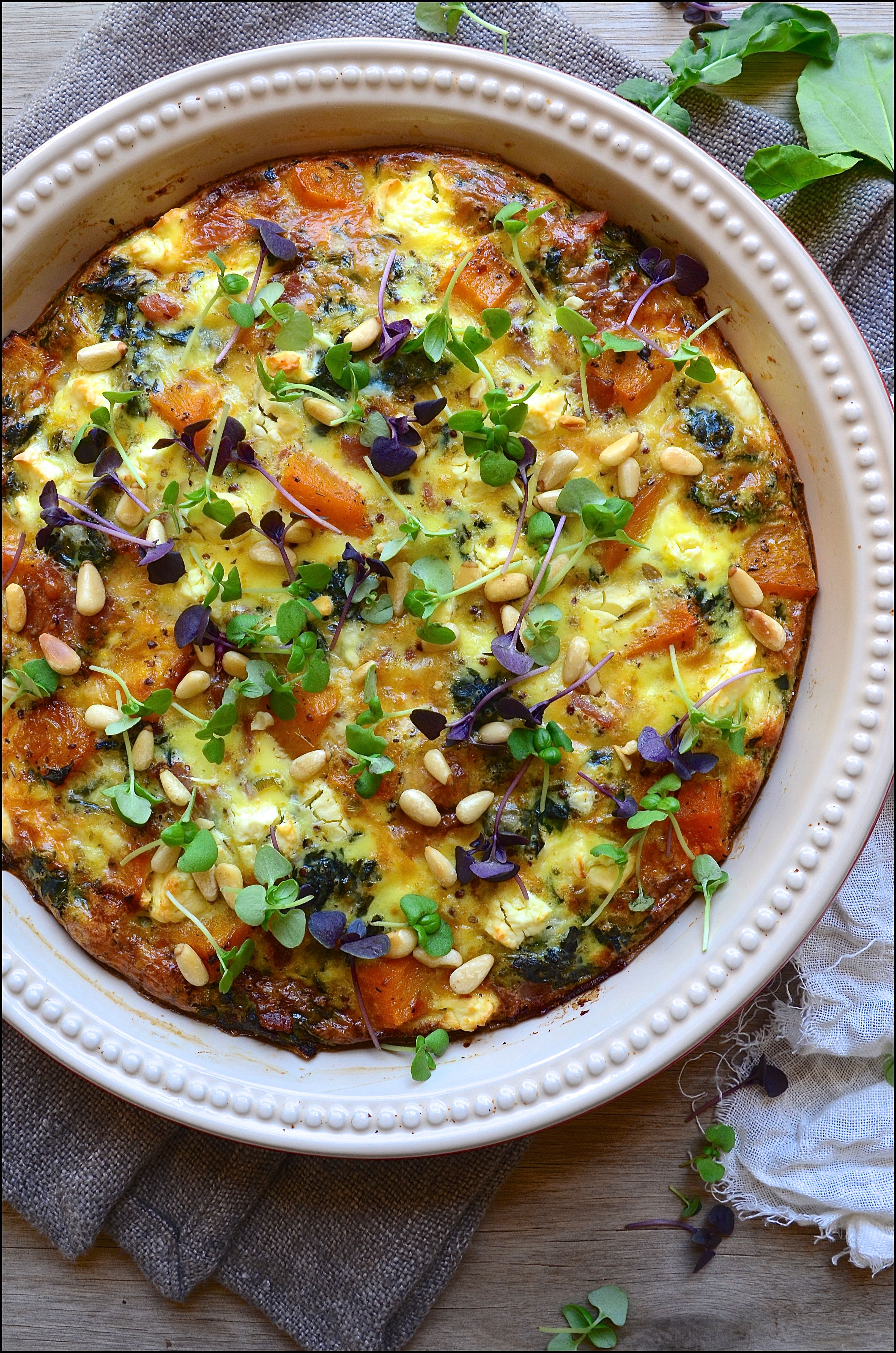 Roast Butternut Crustless Quiche with Feta & Pine Nuts
