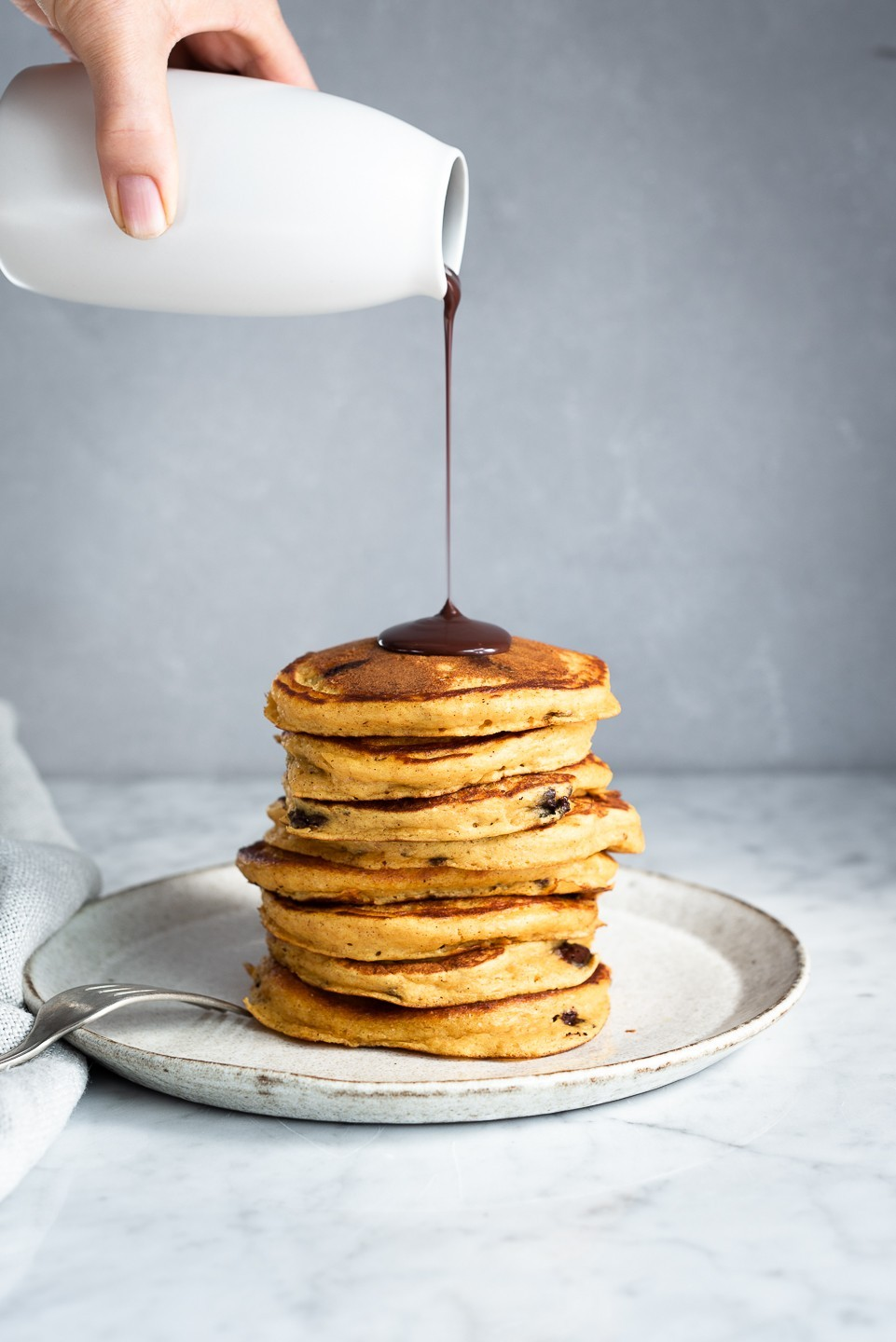Fluffy choc-chip pumpkin pancakes | Bibbyskitchen breakfast recipes