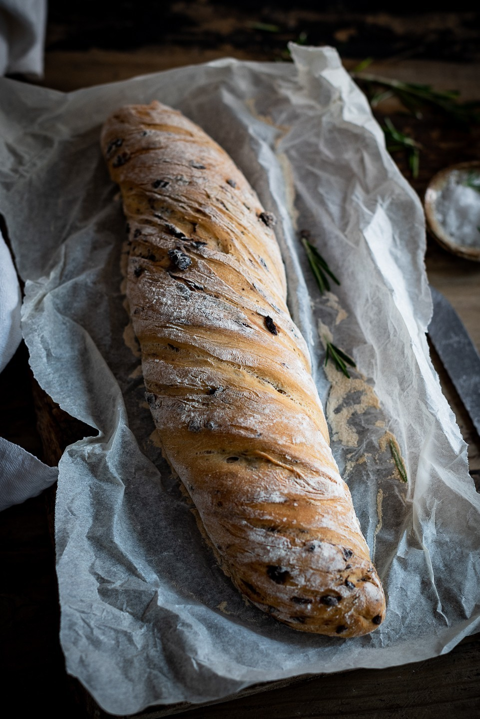 Twisted olive bread
