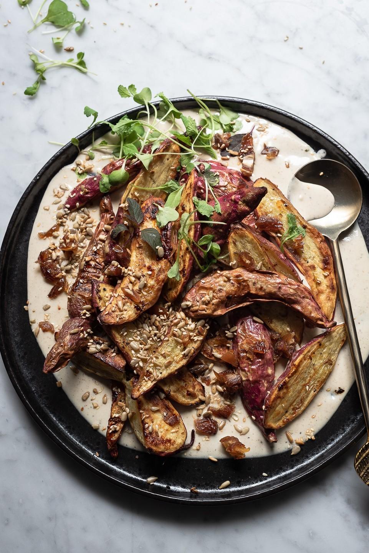 Cumin roast sweet potatoes with tahini sauce