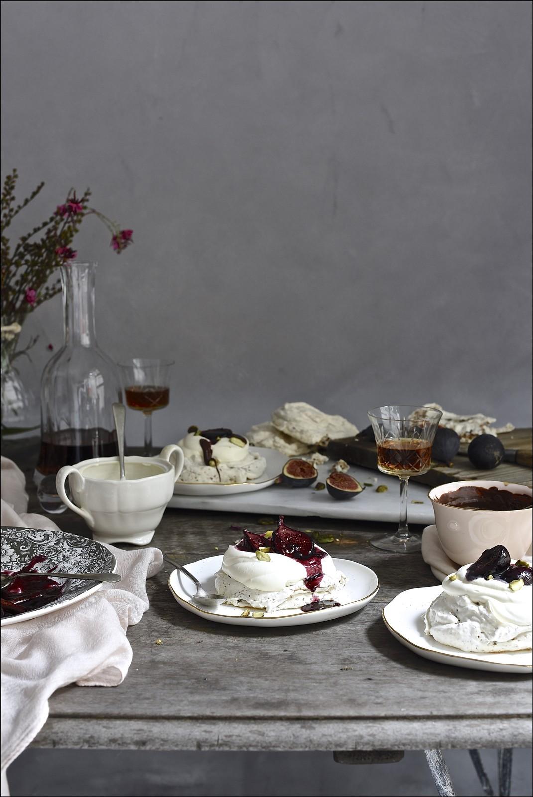 Hot cross bun pavlova with red wine figs | Bibbyskitchen dessert recipes