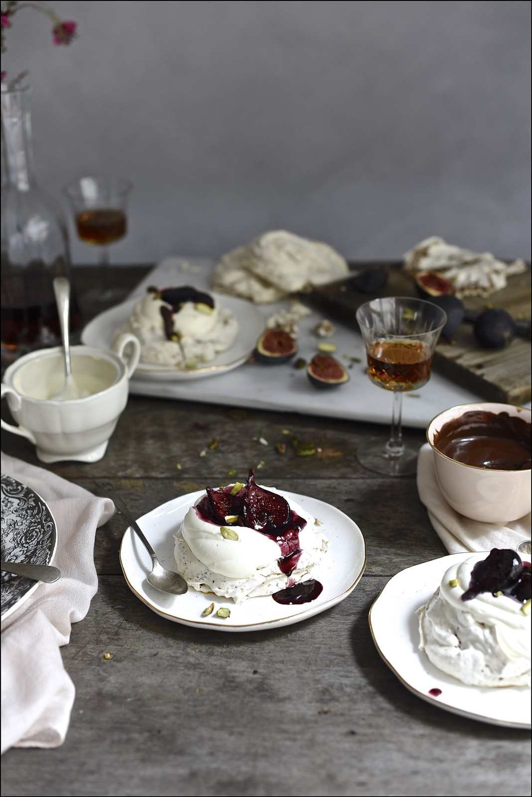 Hot cross bun pavlova with red wine figs | Bibbyskitchen dessert recipes