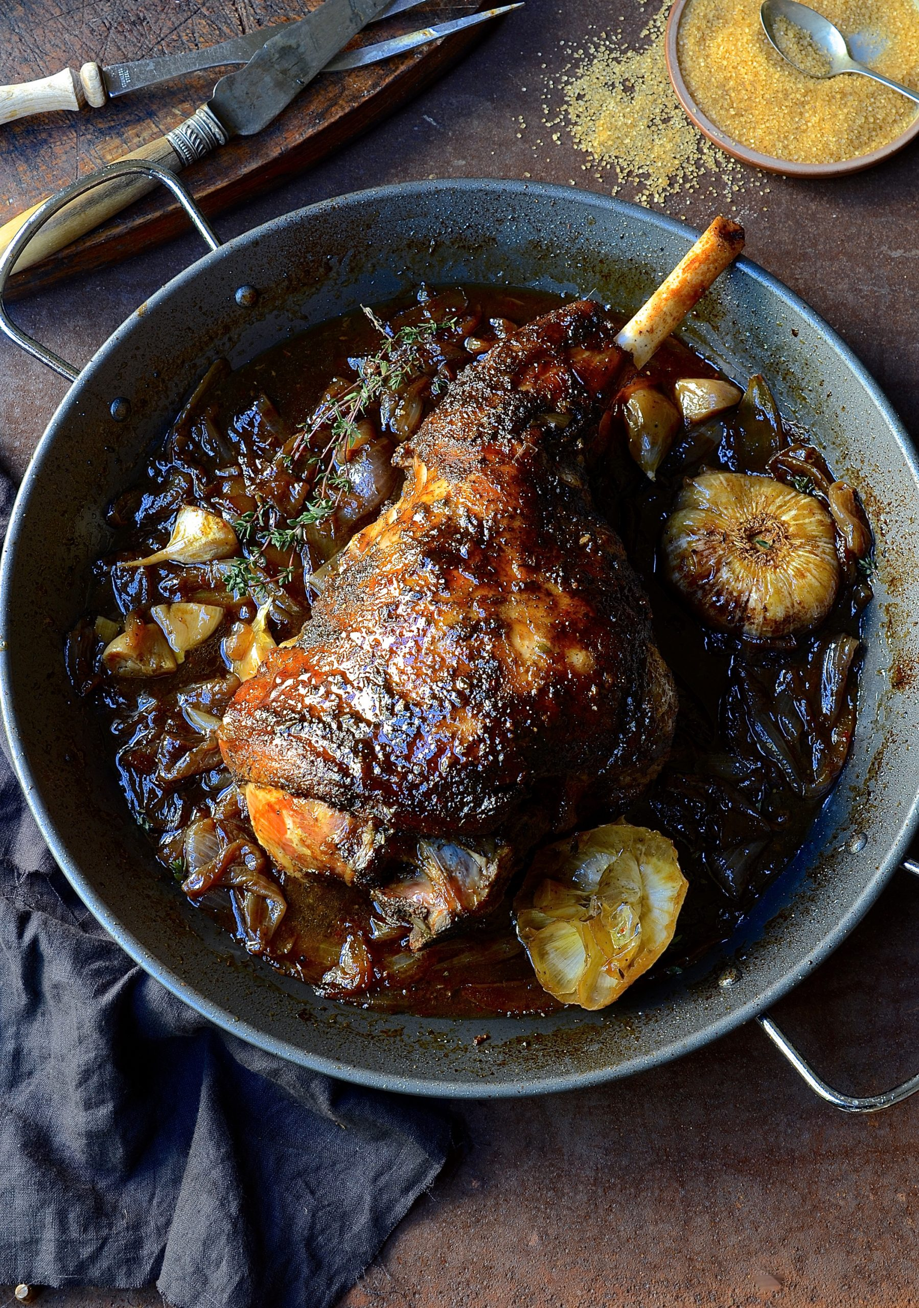 Roast leg of lamb with sweet onion marmalade