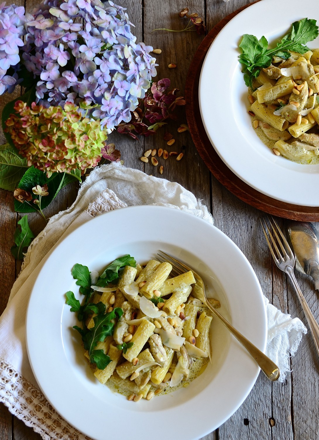 Chicken Pesto Pasta With Parmesan And Pine Nuts Bibbyskitchen Recipes
