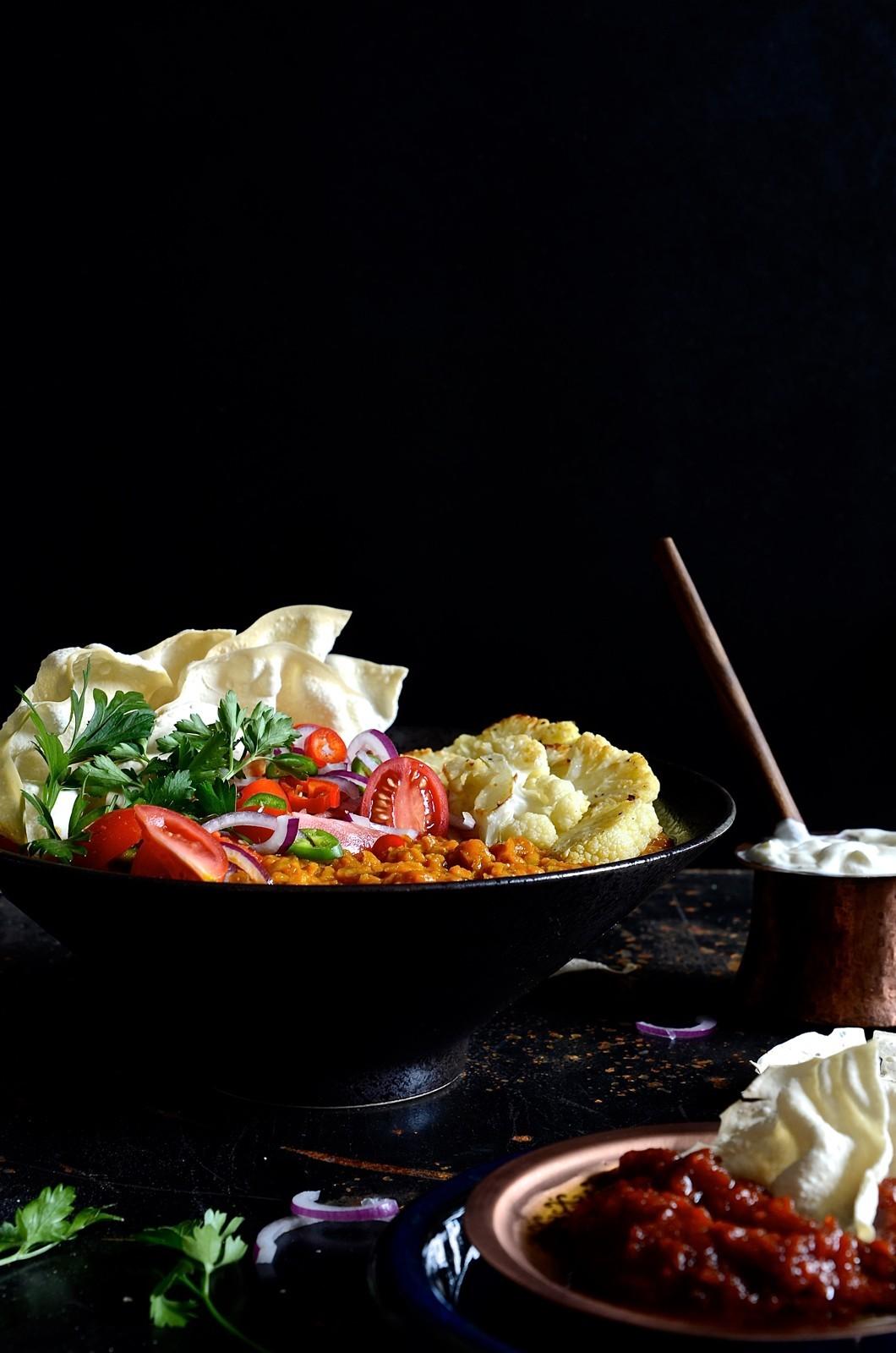 Tarka Dahl with roasted cauliflower