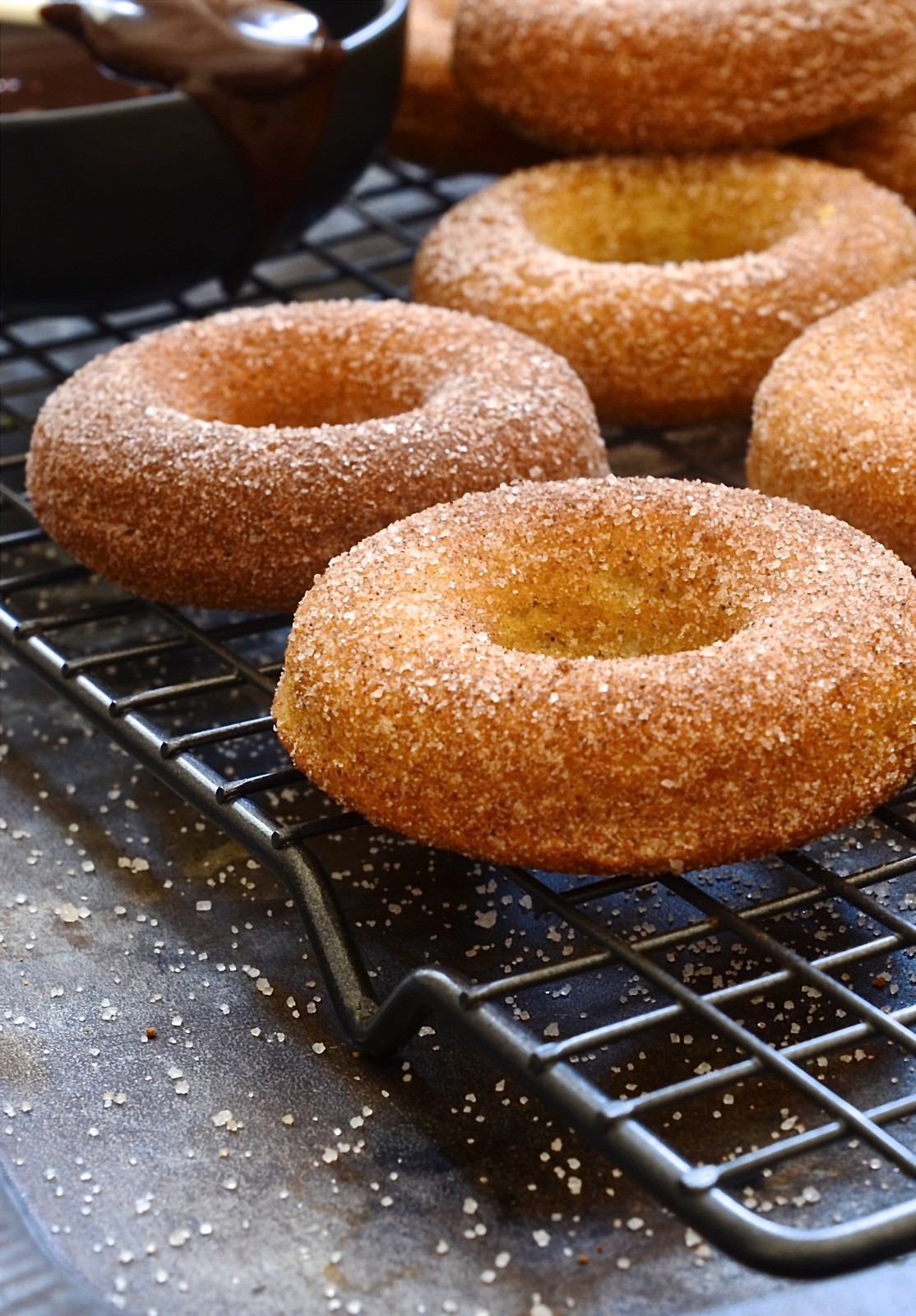 Baked donuts with cinnamon