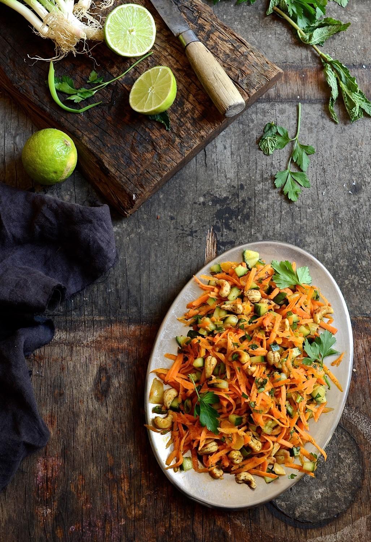 Lamb curry with mango atchar and cashew carrot salad