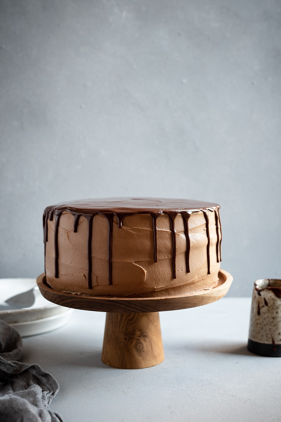 Chocolate mousse cake with cloud frosting