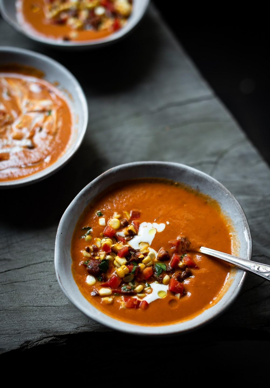 Roast sweet pepper soup with corn salsa