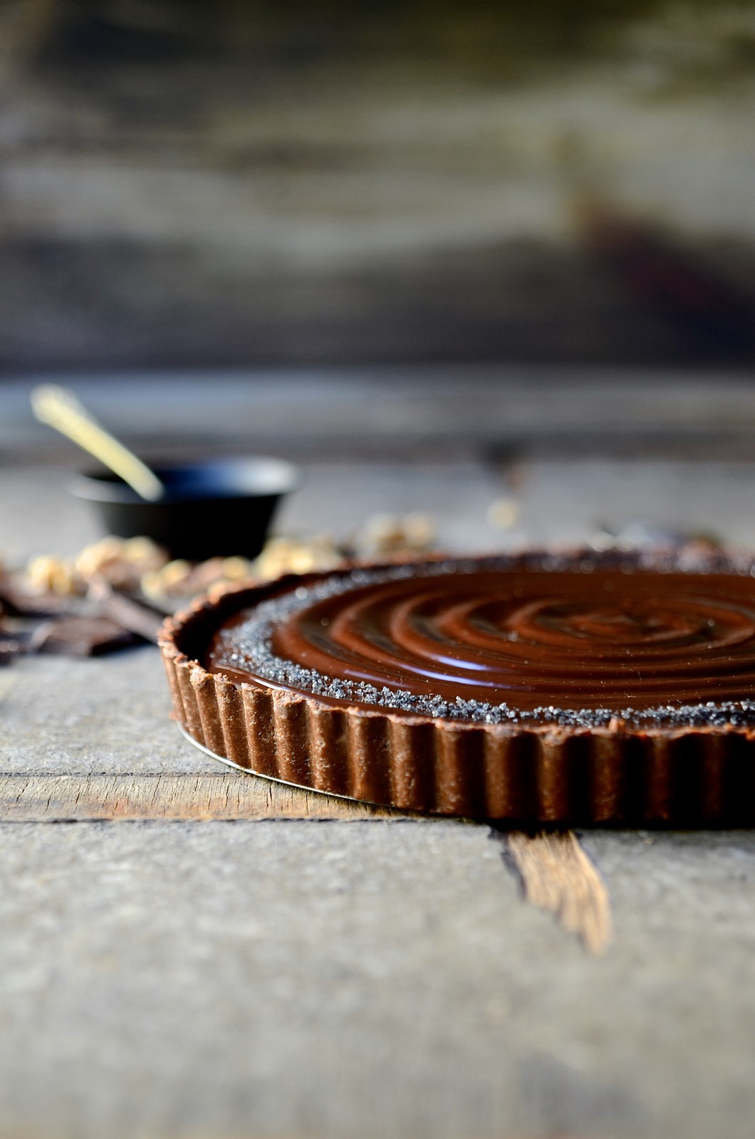No bake chocolate walnut tart