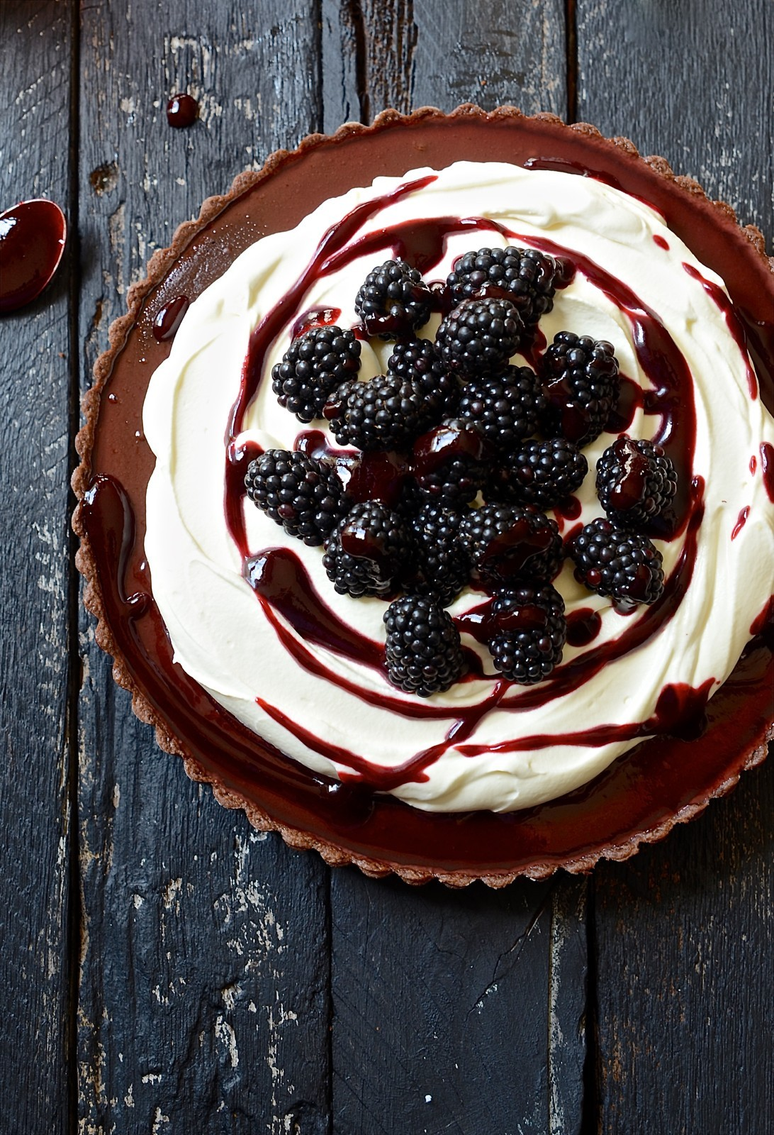Baked blackberry chocolate fondant tart