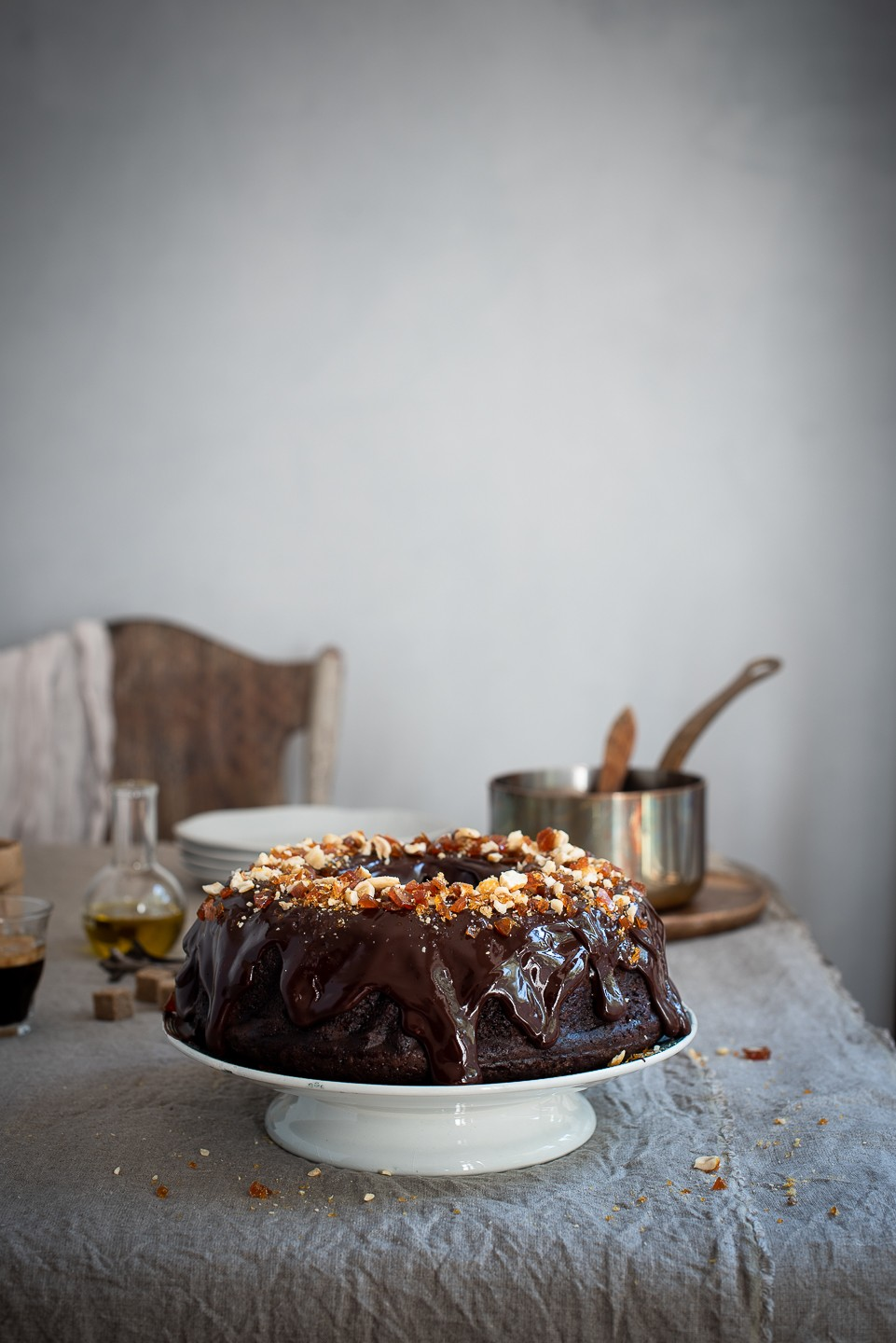 Red wine and olive oil chocolate cake