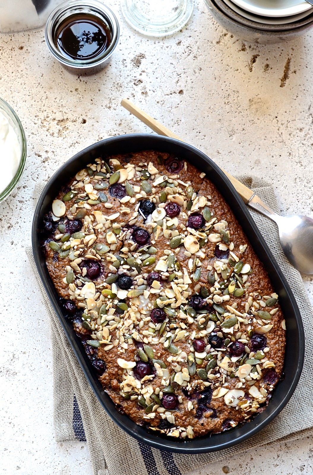 Baked blueberry oatmeal with seeded crumble | Bibbyskitchen recipes