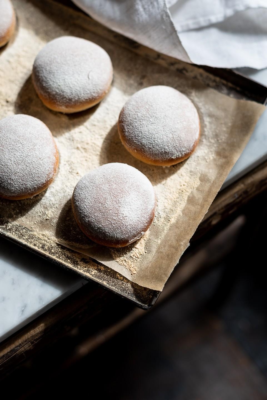 Floured milk bread buns
