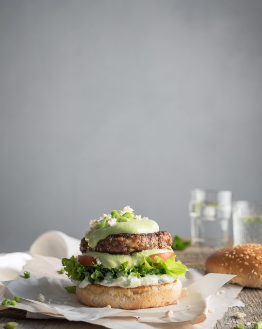Greek-style beef burgers with mint tzatziki