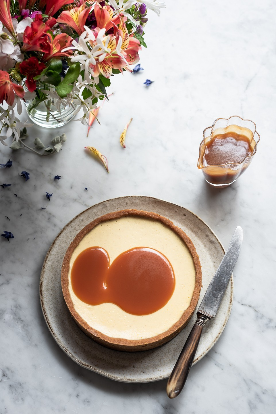 Milk tart cheesecake with Rum caramel