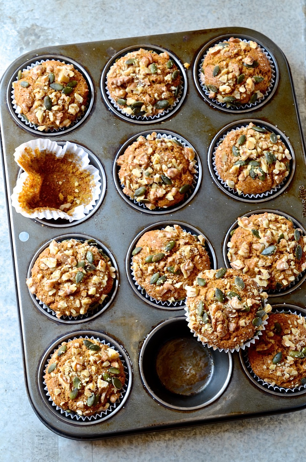 Cinnamon spiced pumpkin muffins with walnut crumble | Bibby's Kitchen