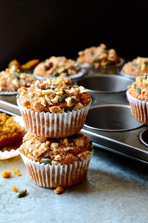 Cinnamon spiced pumpkin muffins with walnut crumble   Bibby's Kitchen