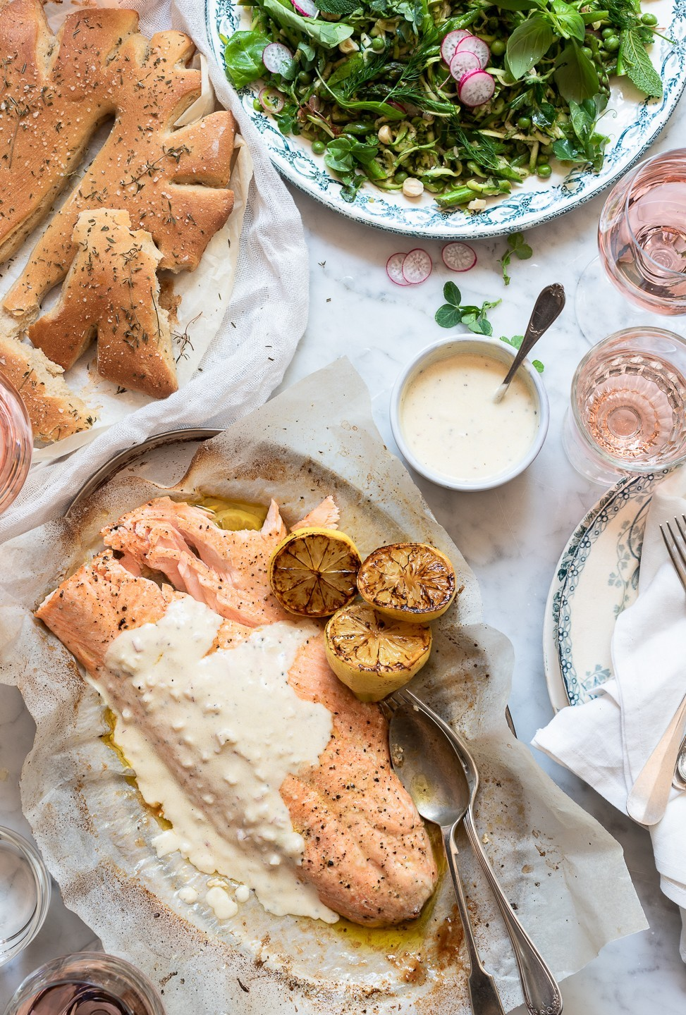 Roast salmon with Rosé and shallot yoghurt | Bibbyskitchen recipes