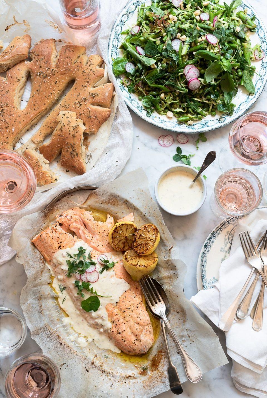 Roast salmon with Roséand shallot yoghurt
