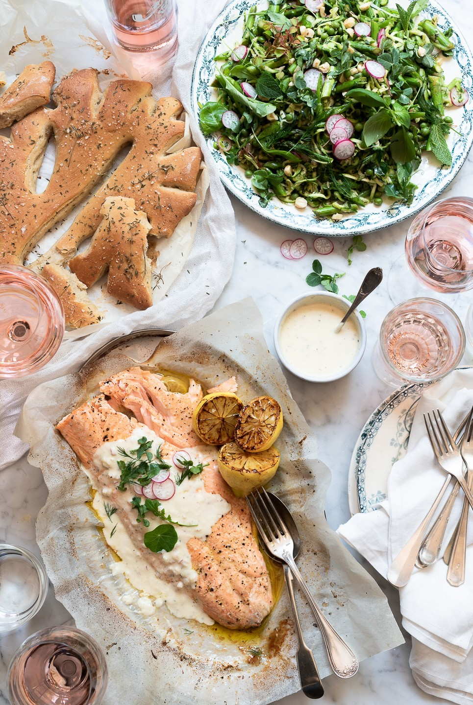 Roast salmon with Rosé and shallot yoghurt