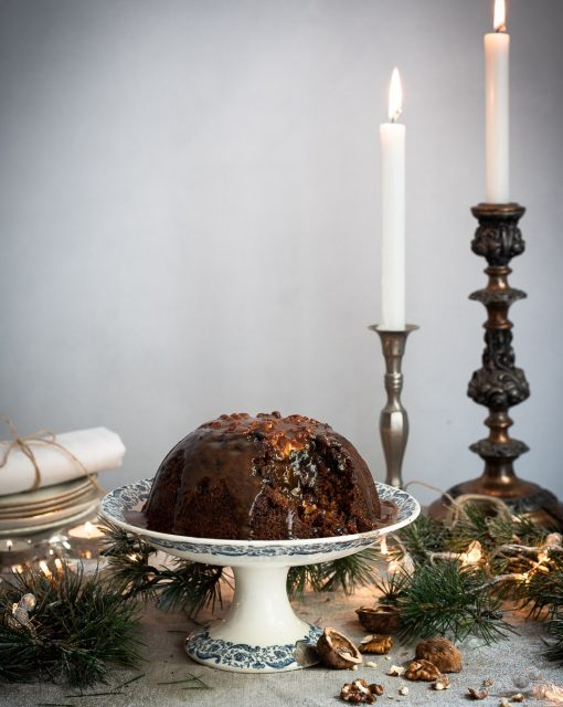 Mandrin Christmas pud with rum caramel