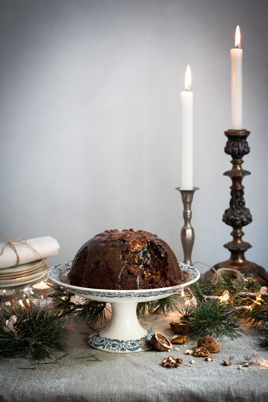Mandrin Christmas pud with rum caramel