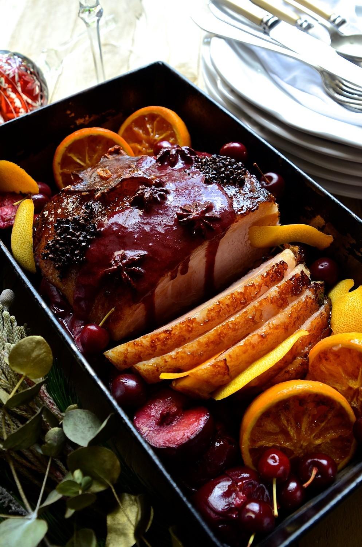 Maple glazed gammon with plum sauce
