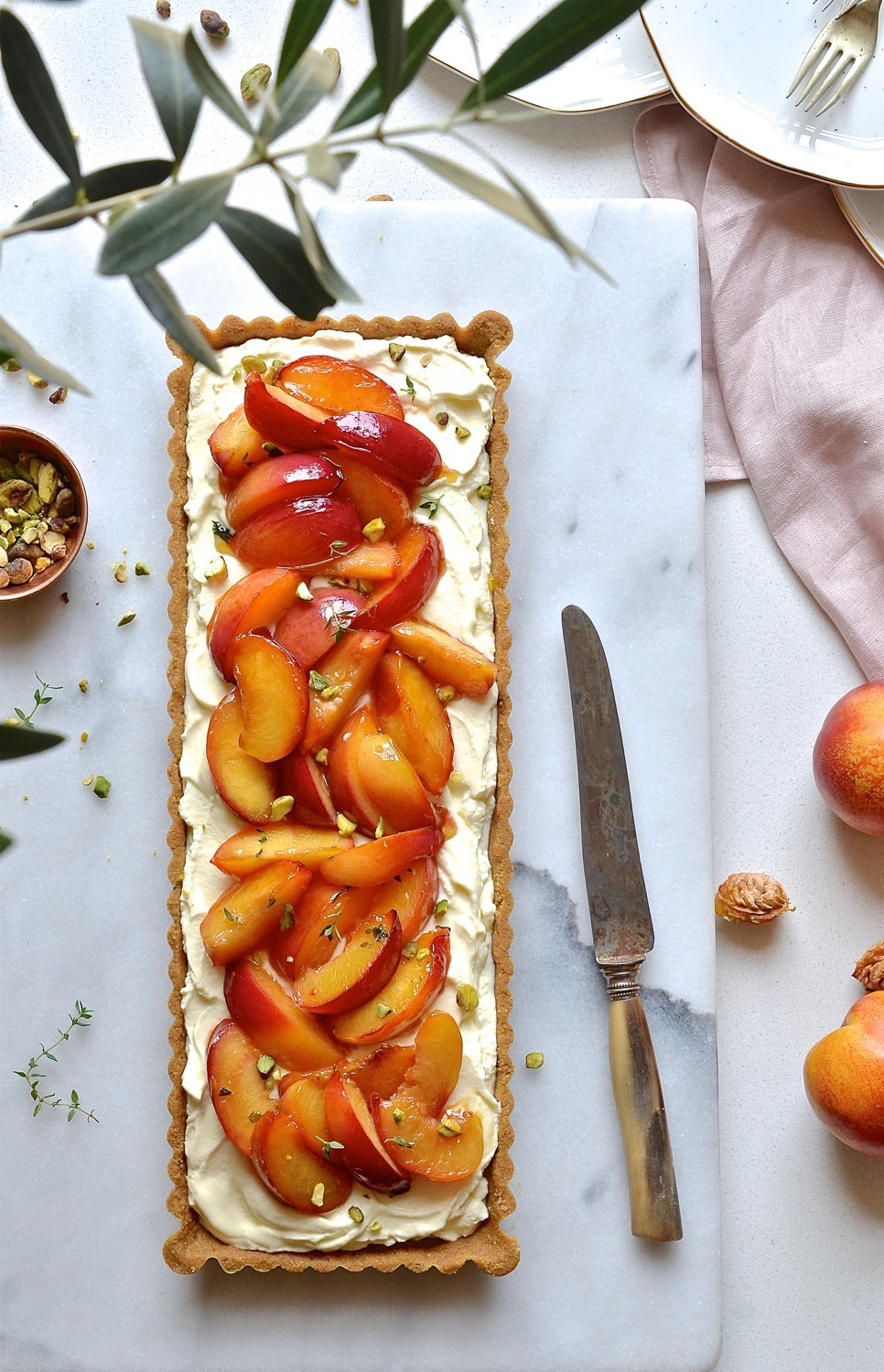 Nectarine tart with thyme and honey butter