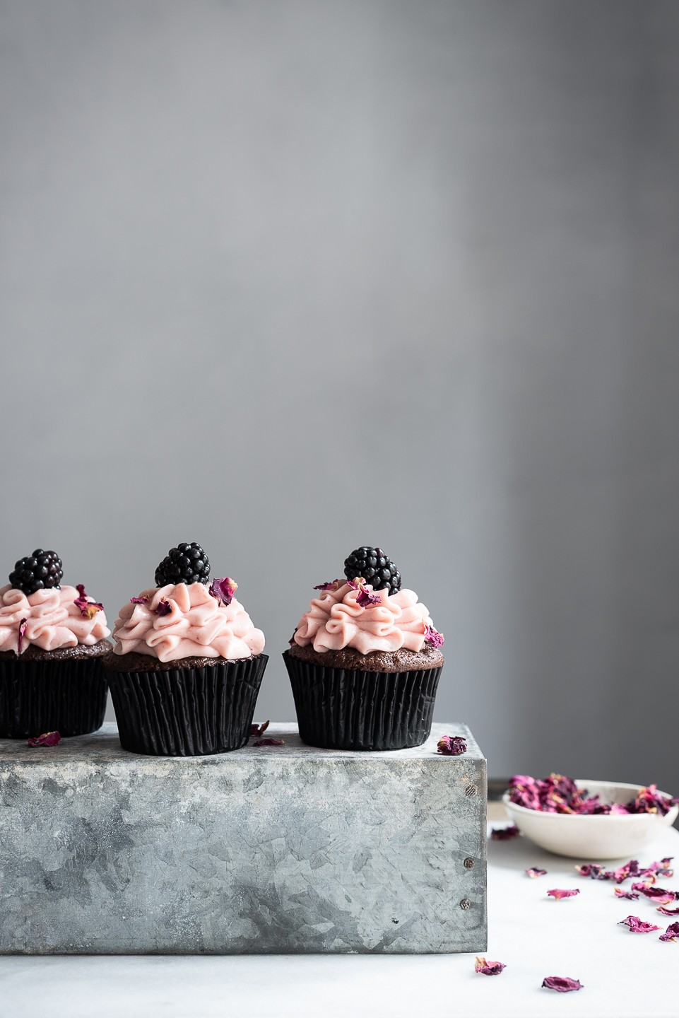 Frilled Devil's Food cupcakes