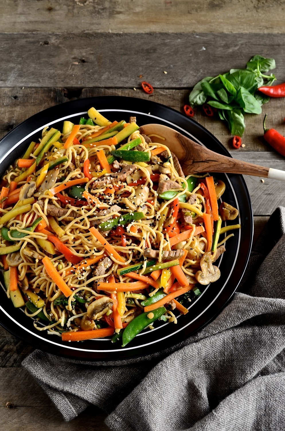 Korean beef stir-fry with egg noodles | Bibbys Kitchen recipes