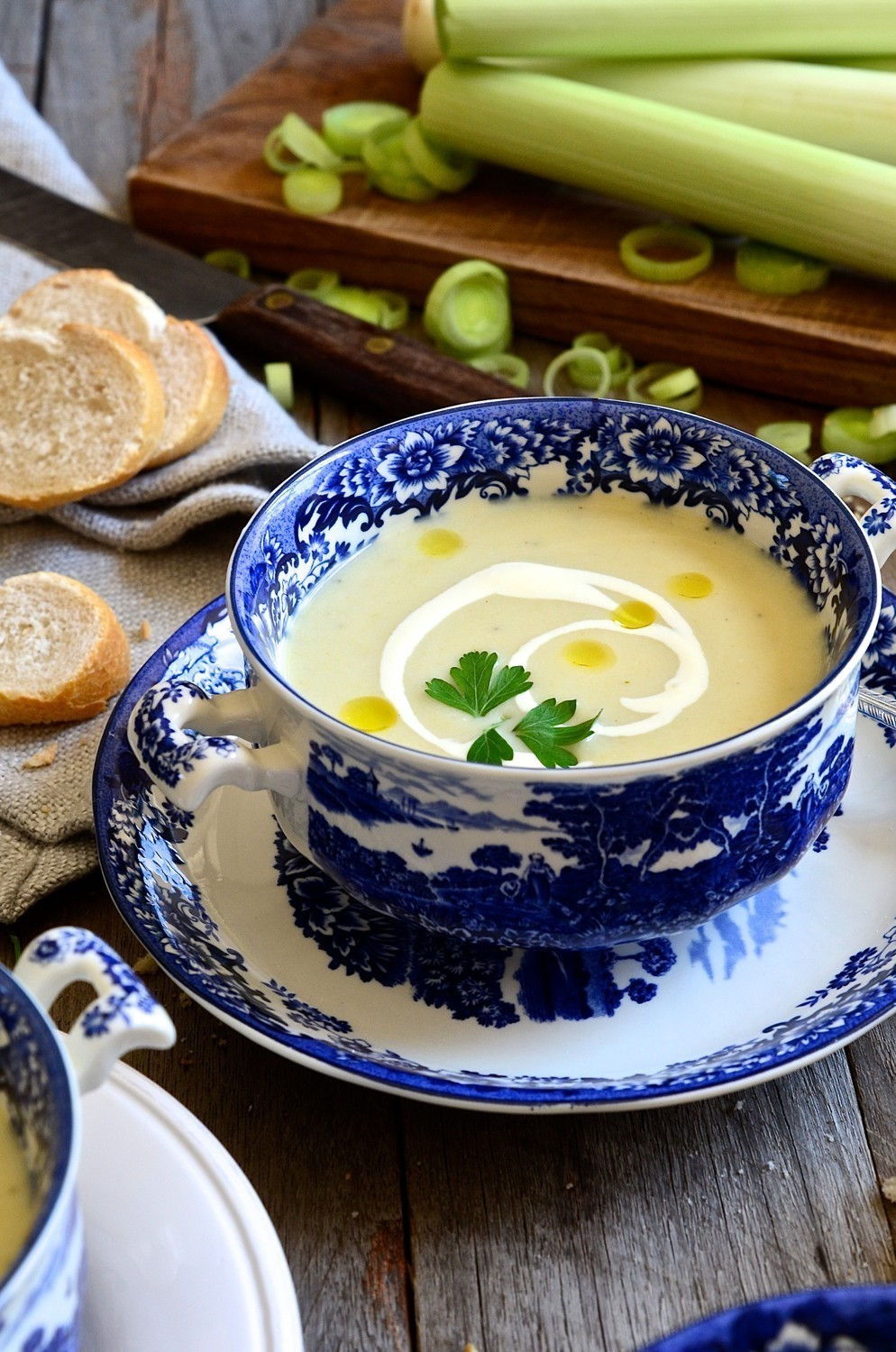 Pear, brie and leek soup