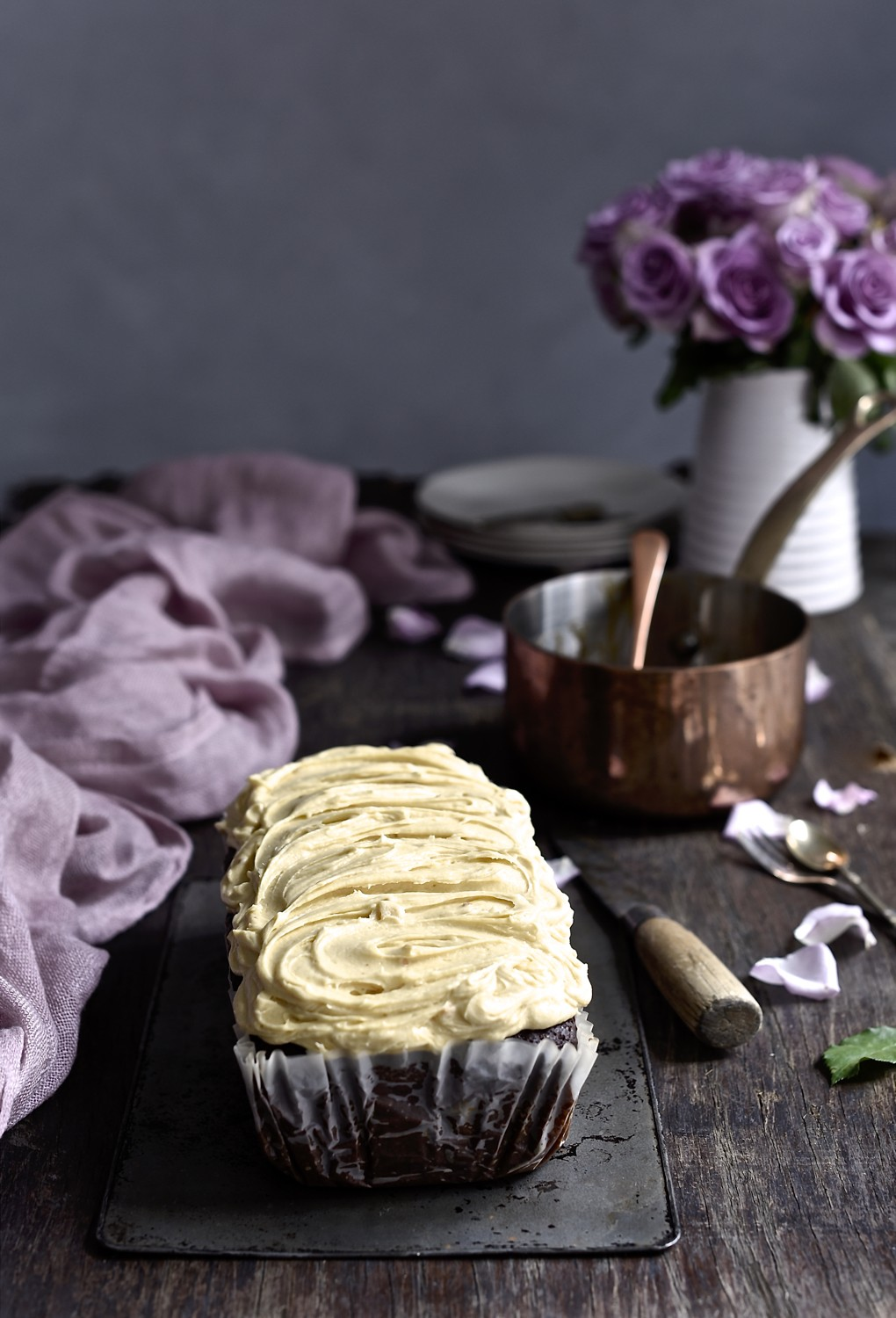 Frosted peanut butter banana bread