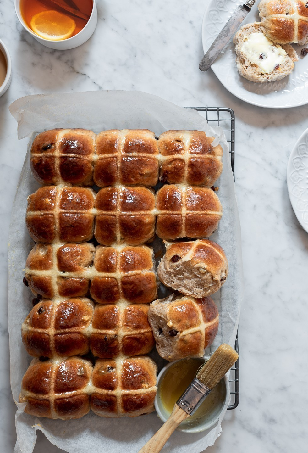 Honey butter hot cross buns