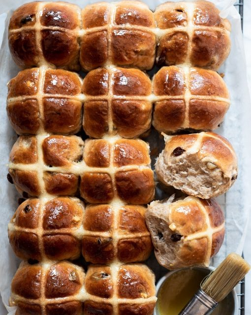 Honey butter hot cross buns