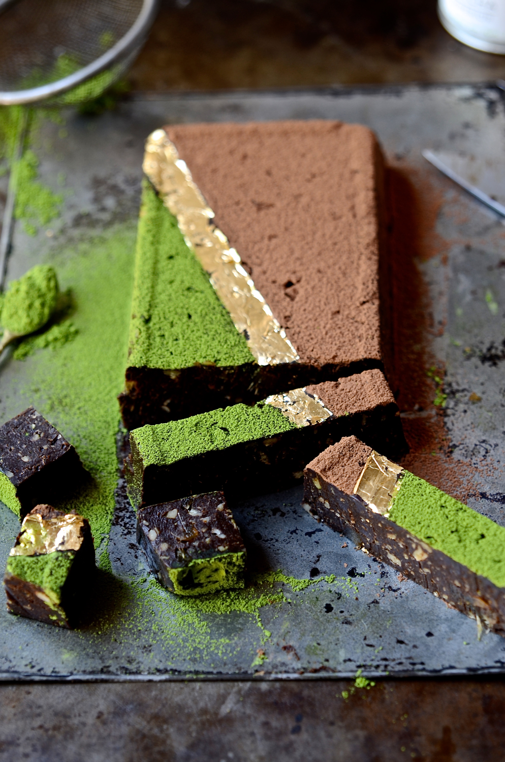 Matcha date fudge