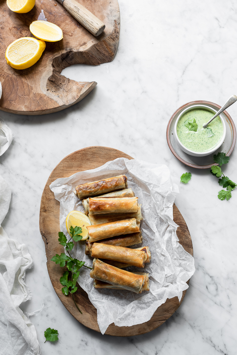 Spring Rolls with herb yoghurt