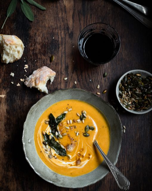 Roast butternut and sweet potato soup