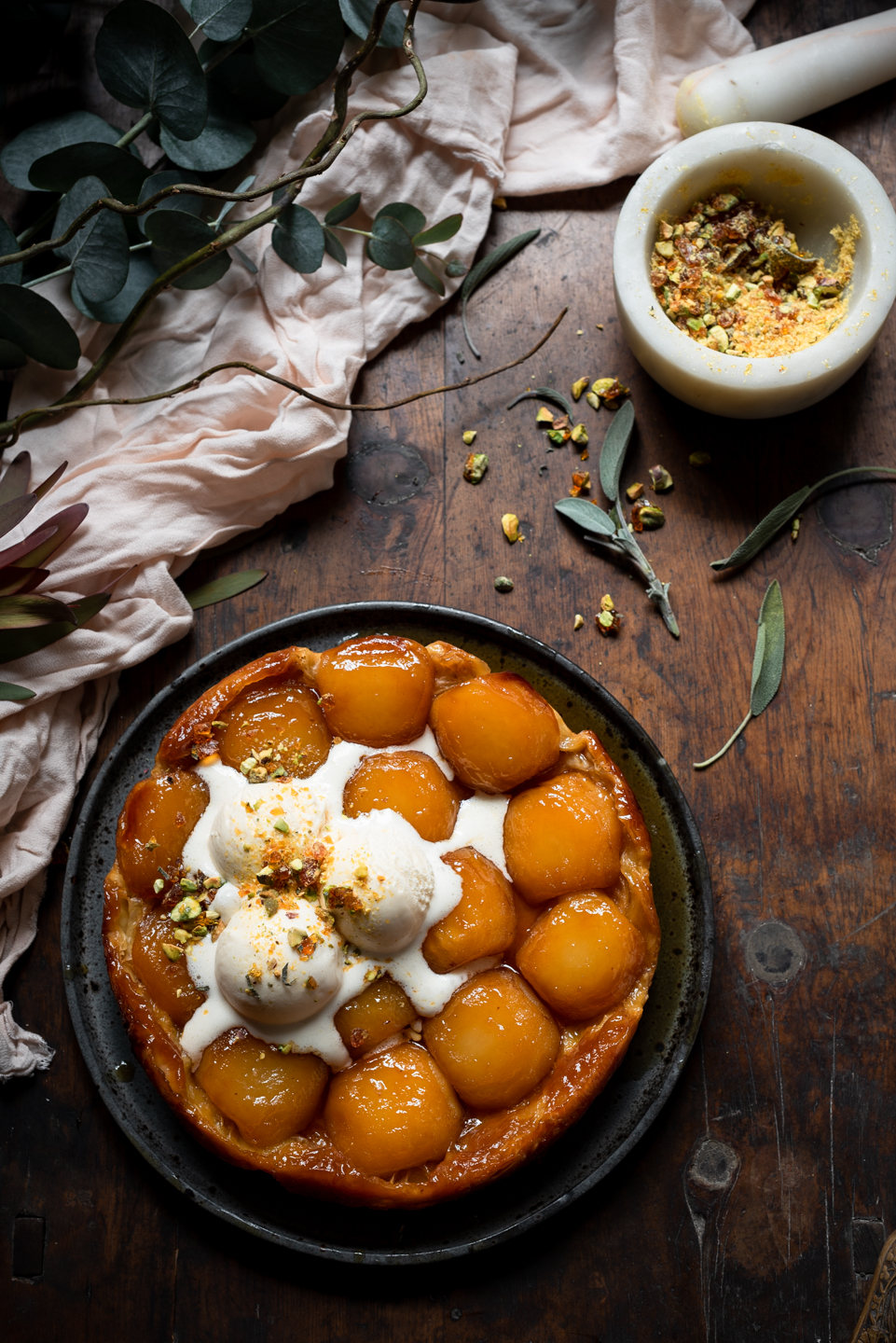 Tarte Tatin with Pistachio and Sage Praline