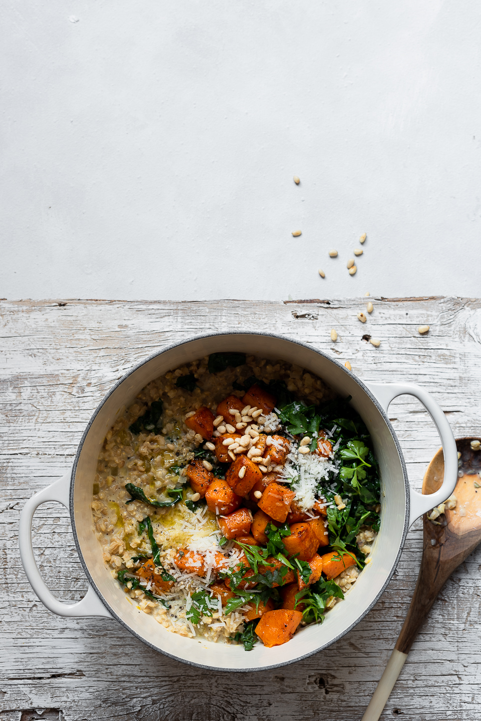 Barley risotto with kale and butternut