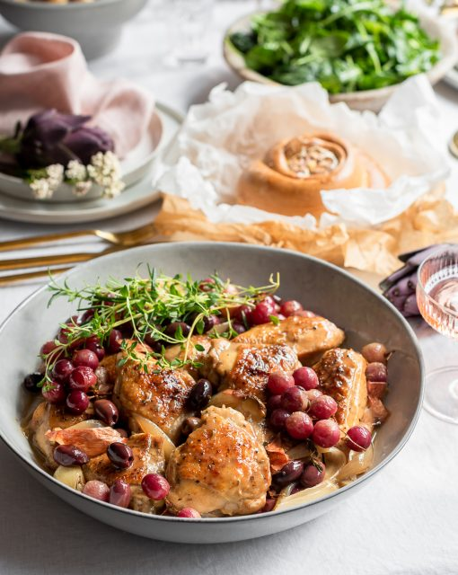 Sticky chicken with roasted grapes