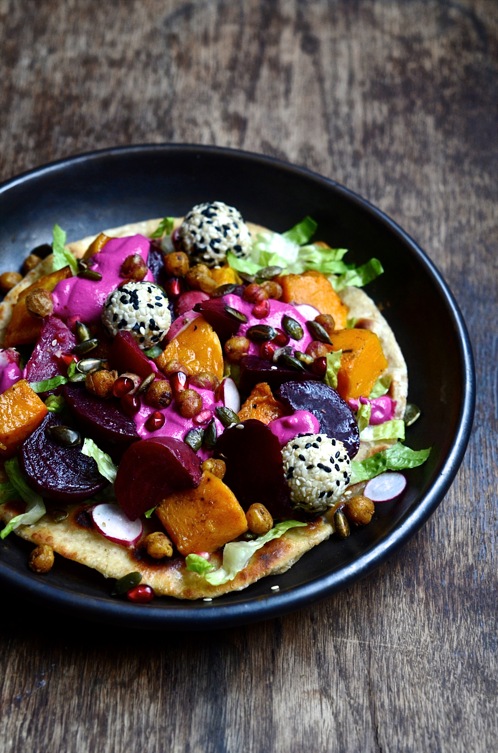 Butternut flatbreads with goat's cheese truffles