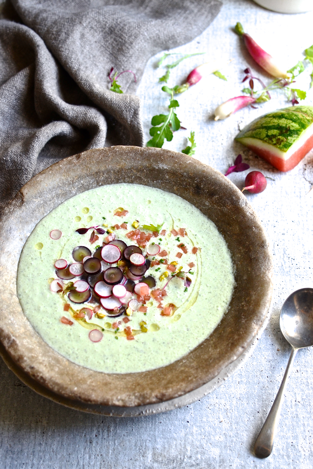 Chilled cucumber soup with grape salsa