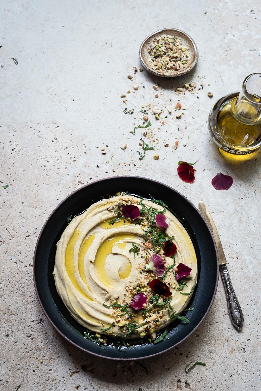 Roast flax and sunflower seed hummus