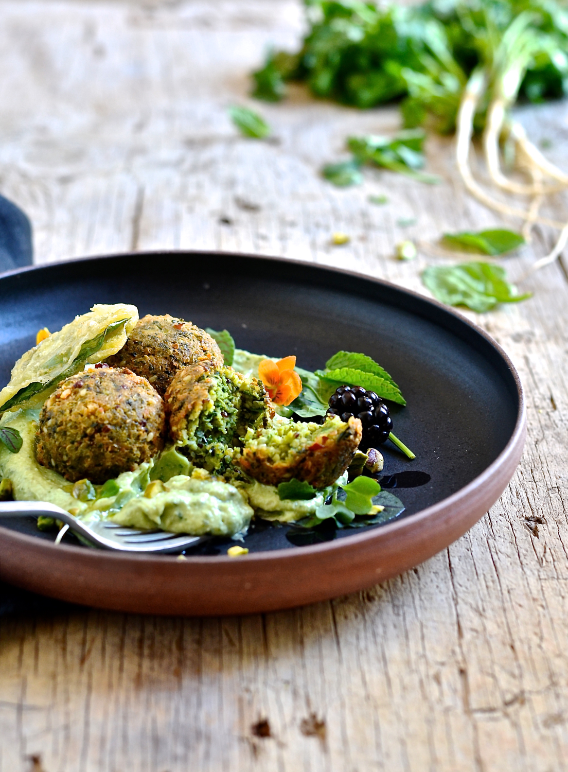 Spinach and quinoa falafel