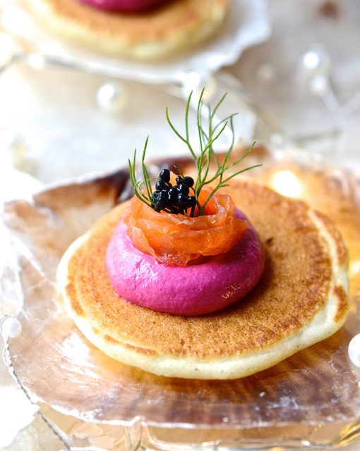 Salmon Blinis with beetroot mousse