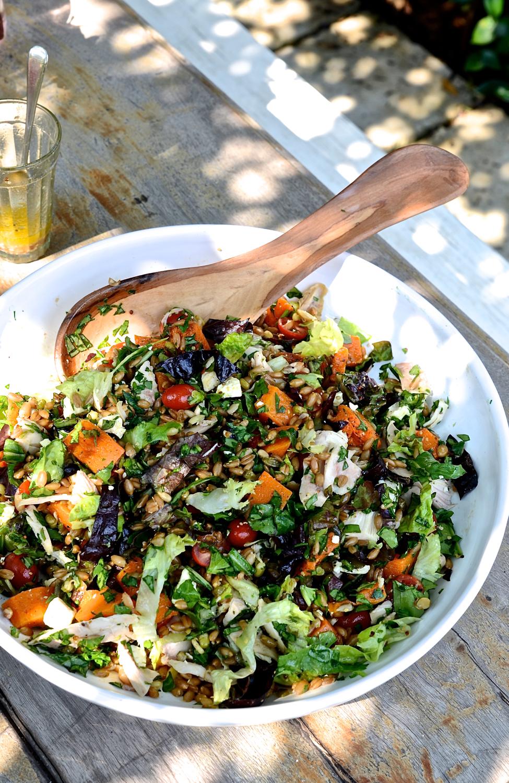 Spelt chicken salad