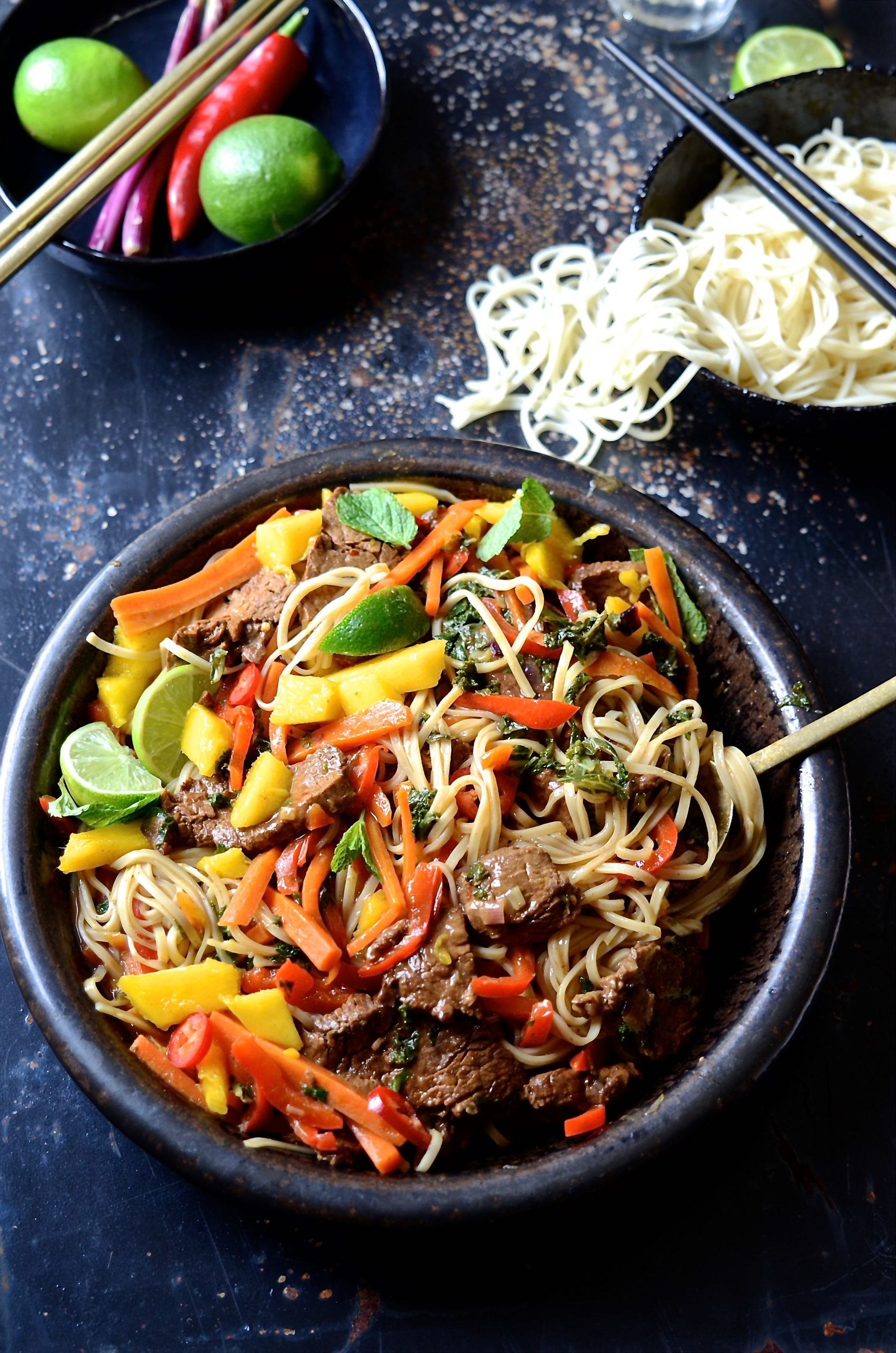 Spicy Beef Stir Fry With Sweet Peppers And Mango Bibbyskitchen Recipes