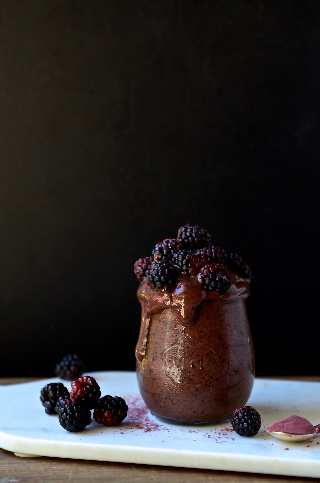Chocolate and blueberry smoothie pots