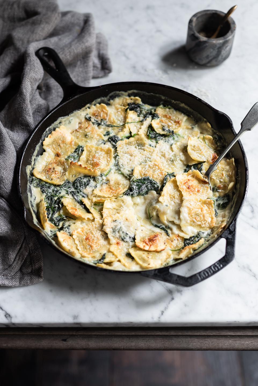 Spinach Ravioli and Gorgonzola Bake